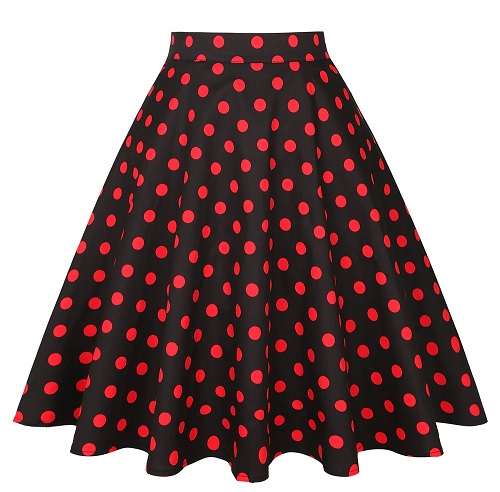 Svart swing kjol röda prickar