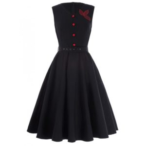 Klänning svart röd