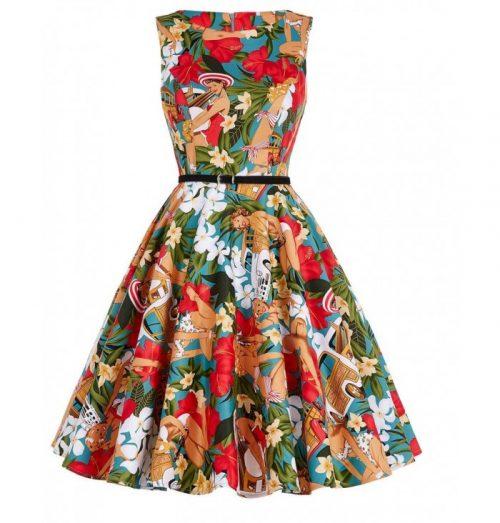 klänning hibiskus fram