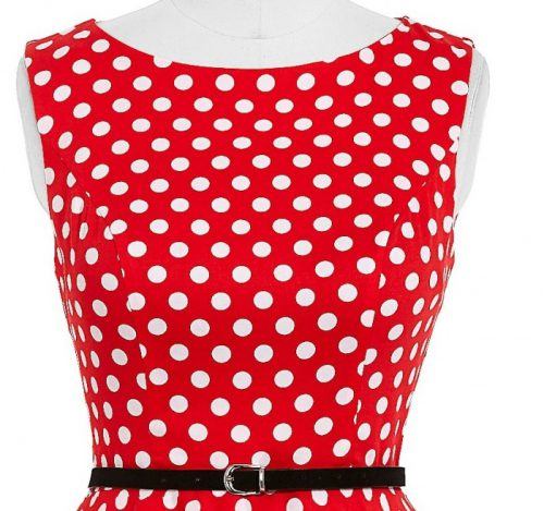 röd vita pricka byst klänning