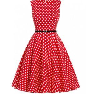 klänning röd vita prickar