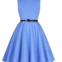 Ljusblå barnklänning vita prickar