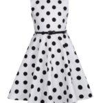 barnklänning vit stora svarta prickar