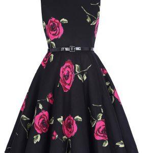 barnklänning svart mörkrosa rosor