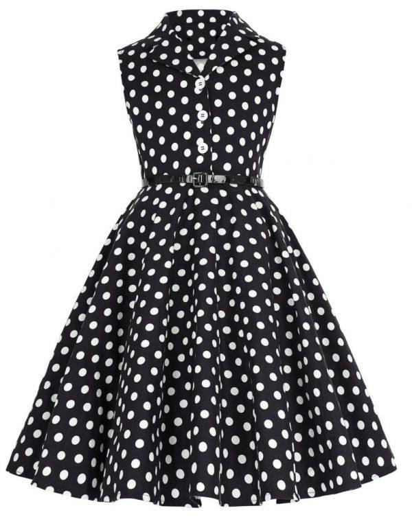 barnklänning svart vit prick krage