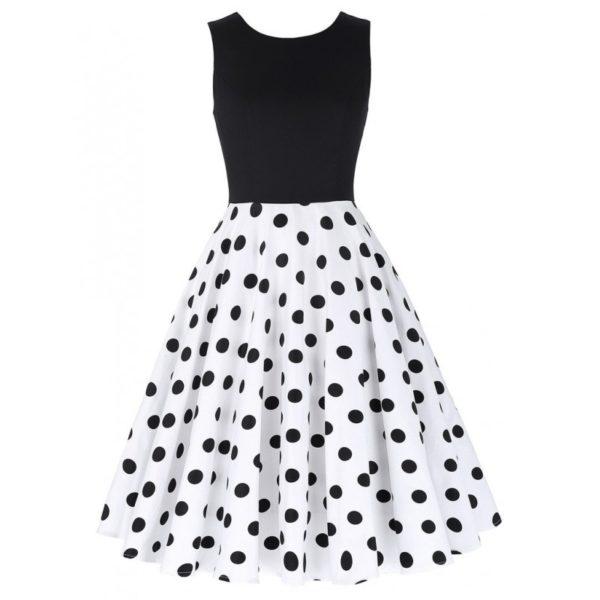 Vit svart prickar klänning
