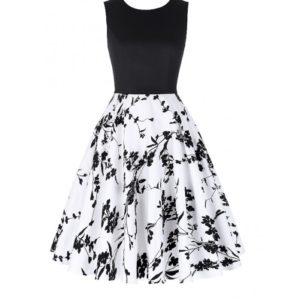 Vit svart blom klänning