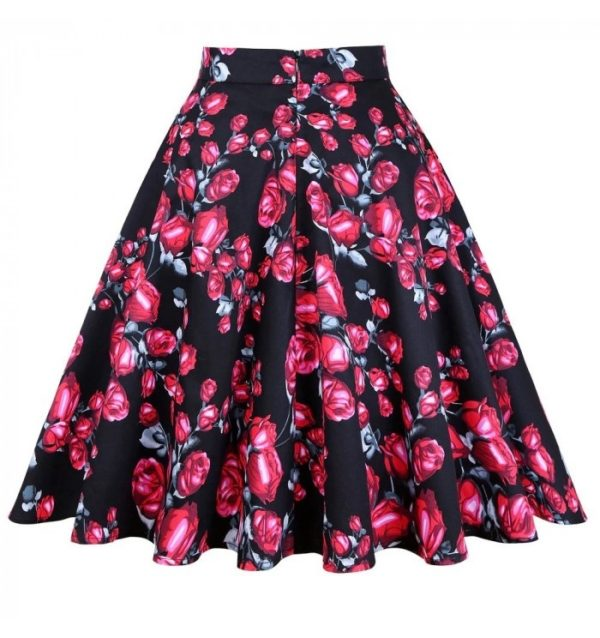 baksida kjol svart röda rosor