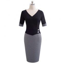 grå svaret pencil klänning fram