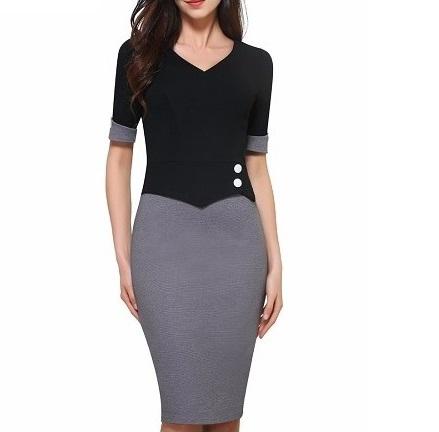klänning pencil grå svart modell