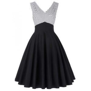 vit svart klänning prickar