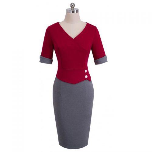 röd grå pencil klänning fram