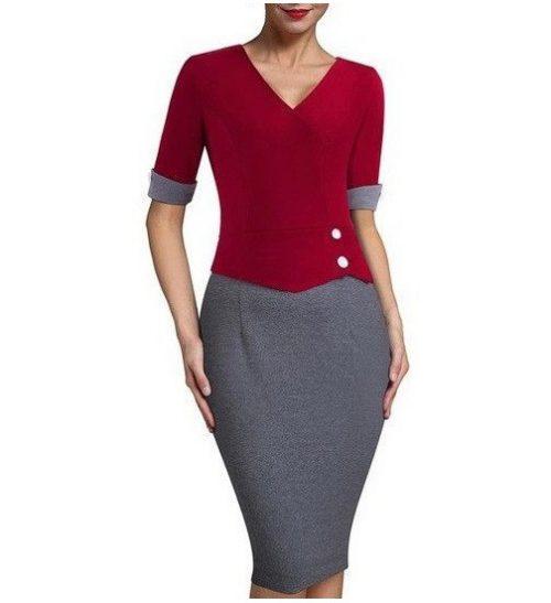 pencil klänning modell röd grå