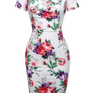 amy klänning vit blom fram