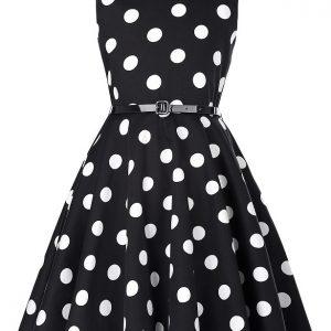 prickig barnklänning svart stora vita prickar