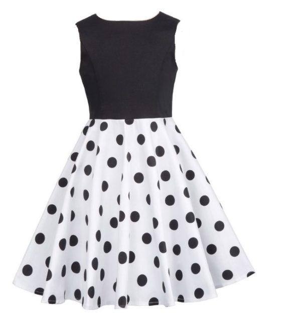 Barnklänning vit svart prickig