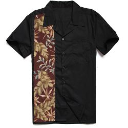 herrskjorta svart bruna blad