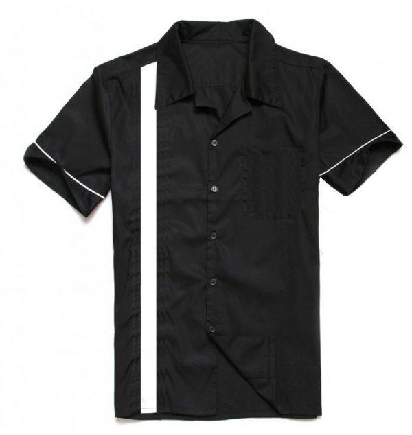 herrskjorta svart vit rand
