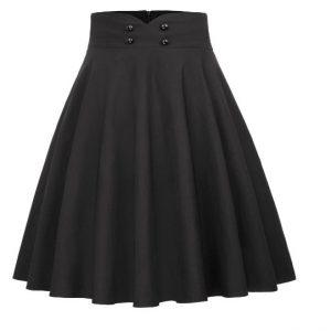 Svart helklockad kjol retro