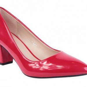 Röd lack skor dam bred klack