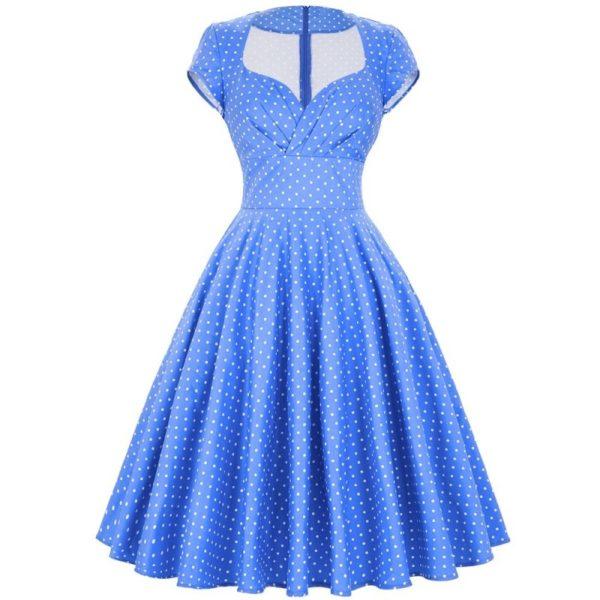 ljusblå vita prickar klänning