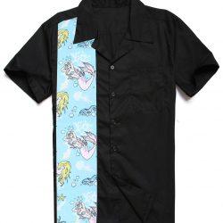 svart herrskjorta sjöjungfru motiv
