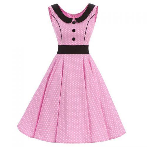 Rosa klänning svart krage fram
