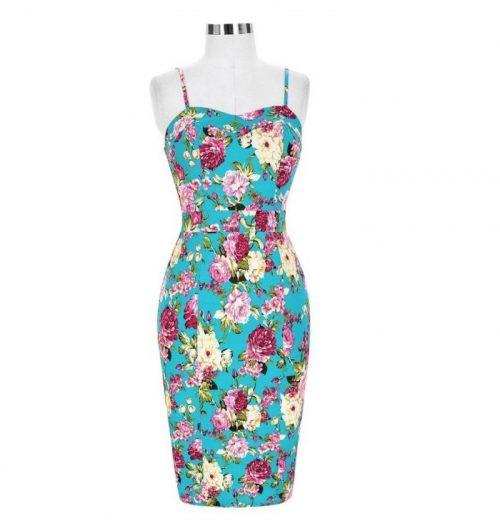 Turkos blommig pennklänning