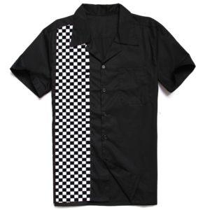 Herrskjorta svart vit rutig fram