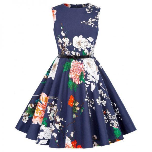 marinblå barnklänning blommor