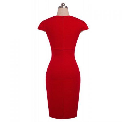 röd pencil klännnig fickor bak
