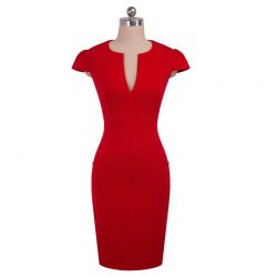 kontorsklänning röd med fickor