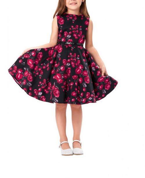 barnklänning röda rosor modell