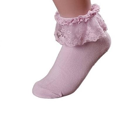 Rosa strumpor med spets