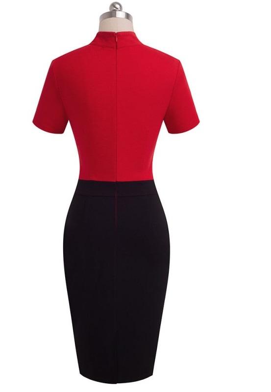 vacker pencil klänning i svart och rött