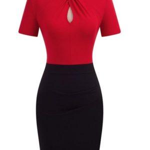 jobbklänning röd svart pencil klänning fram