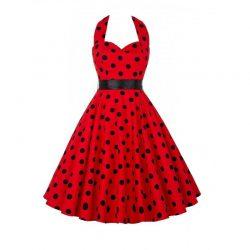 prickar på klänning halter röd svart big dot fram