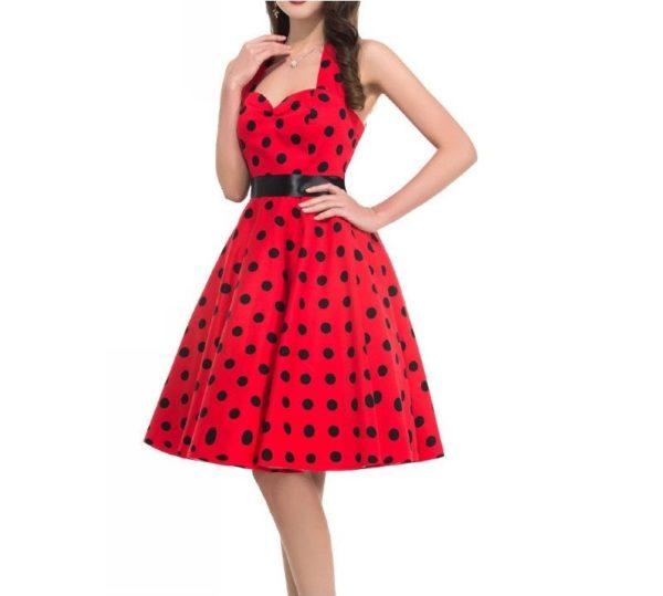 halterneck klänning röd svart big dot modell