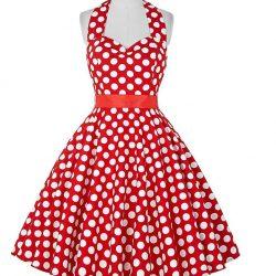halterneck klänning röd med vita prickar