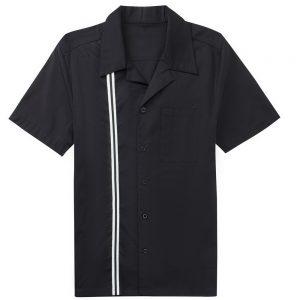 herrskjorta svart dubbelrand