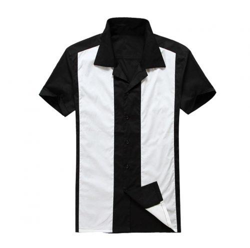 herrskjorta svart bred vit rand