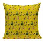 kuddfodral Hawaii gul med palmer