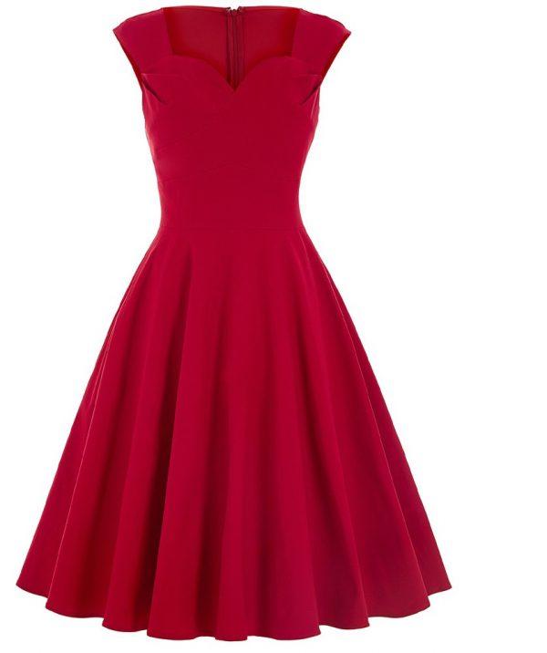 Röd helklockad tea dress