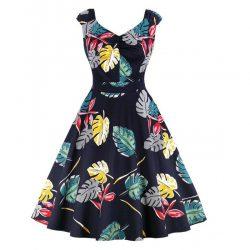 Blommig klänning elsa marinblå fram
