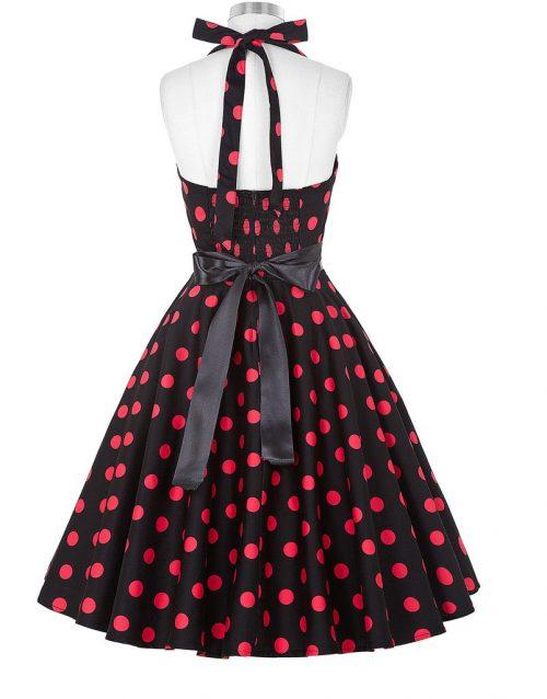 halter klänning hallonröd svart bak