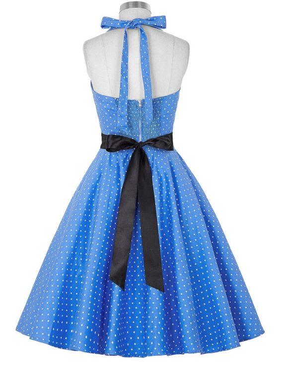 halter klänning ljusblå vit dot bak