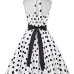 klänning halter vit svart dot bak