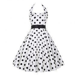 halterneck klänning vit med svarta prickar