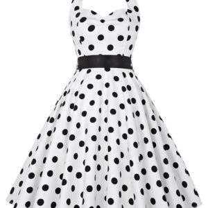 Prickig Rockabilly klänning vit svart dot fram