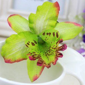 Hårspänne grön orkidé